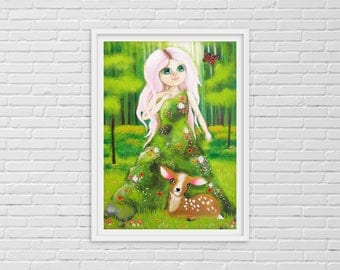 Forest Spirit, Nature Spirit, Mother Earth, Tree Spirit, Fairy Garden, Fawn, Deer Print, Girl Woodland, Bambi, Woodland Nursery