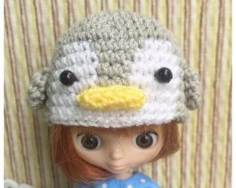 """Doll Hat for Lati White & Petite Blythe : """"Grey Penguin Hat"""" (Crochet Hat)"""