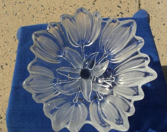 Tulip pedestal bowl/frosted glass/clear glass