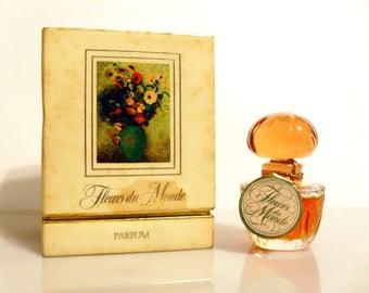 Vintage Perfume 1970s Fleurs du Monde by Faberge 0.25 oz Pure Parfum and Box DISCONTINUED
