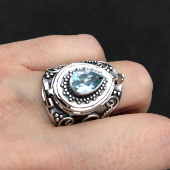 Blue Topaz Ring, Topaz Silver Ring, Statement Rings, Locket Ring, Birthstone jewelry