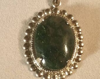Moss Agate in Silver Frame