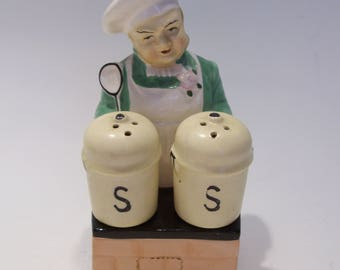 Chef and Stove Holder with Pot Salt and Pepper Shakers Vintage Made in Japan