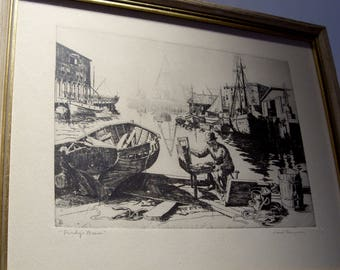 """Lionel Barrymore Etching  """"Purdy's Basin"""" Under Glass Wood Frame Great Gift"""