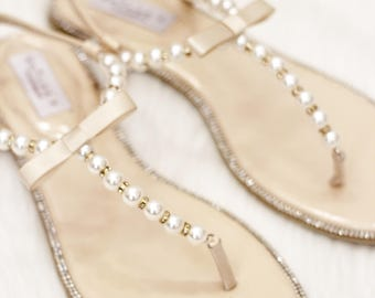 Items similar to pearl barefoot sandals wedding sandals bride women pearl wedding sandals t strap beige pearl with rhinestones flat sandal brides junglespirit Images