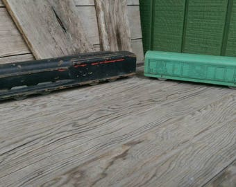 Vintage Toy Trains Engine and Freight Car Wood with Metal Wheels