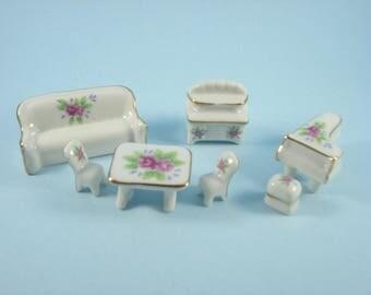 Vintage Miniature Furniture - 7 Piece Doll House Set -  Ceramic Lot- Retro Japan 1960s