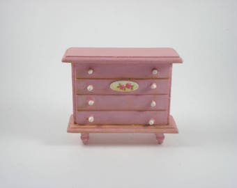 Vintage Dolls House Furniture - Pink Chest of Drawers - Dollhouse Wooden Miniatures