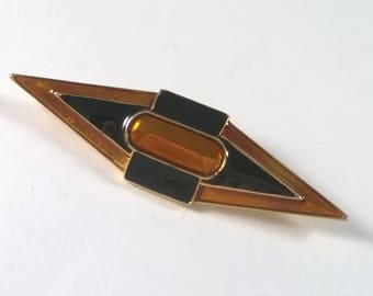 Vintage Enamel Brooch - Retro Orange and Black Pin on Gold Tone - 80s Fashion Jewelry