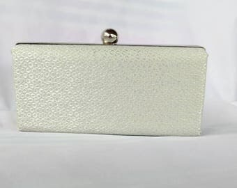 Pearl  bridal minaudiere box clutch/ Glitter silver purse/ Bridal minaudiere/ Bridal shower/ gift for her