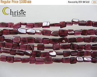 SALE Red garnet square beads 4 x 5-6mm 6inch strand