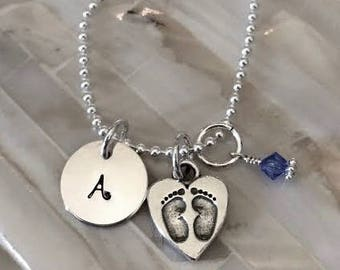 Baby Footprint Initial Necklace- New Mom Necklace- Push Present- Mommy Necklace- Personalized Gift- Baby Gift- Mother's Jewelry