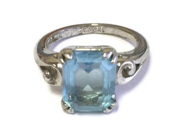 Vintage Blue Topaz Ring by Avon Sterling Silver SZ 4.5 Emerald Cut Solitaire Ring for Girls December Birthstone