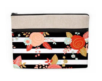 """iPad Pro 10.5 Bag, MacBook 15"""" Cover, Surface Pro Sleeve, Dell XPS 13"""" Padded Bag, Floral MacBook 12"""" Case - gold coral roses and stripes"""