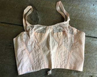 1950s Pink Lace French Bustier, Lingerie, Prima Label, Made in France, Size Small