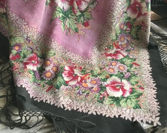Victorian Wool Floral Shawl, Runner, Throw, Tablecloth, Piano Shawl, Project Cutter