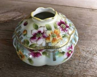Porcelain Lidded Hair Keep, Receiver, Boudoir Dresser Tray Trinket Box, Floral Gold Design, Made in Japan