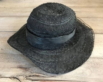 Victorian Black Lace Hat, Wired, Silk Lined, Period Costumes,  Millinery