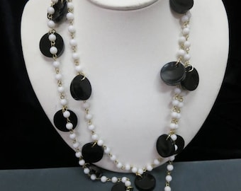 ON SALE Vintage Long 1960s Black White Dangling Beaded Necklace Item K # 1454