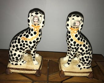 Vintage Fitz and Floyd Dalmatian Bookends Fitz and Floyd Ceramic Dogs Staffordshire Style Dalmatian Bookends Japan Dog Bookends