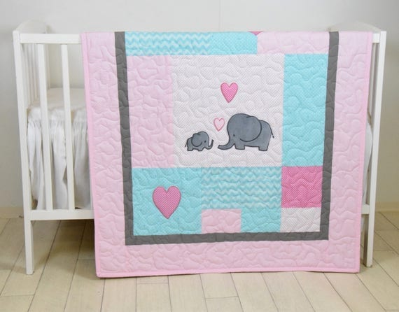 Elephant Baby Quilt, Mint Gray Pink Crib Bedding, Mint Chevron  Elephant Blanket, Grey Safari Nursery