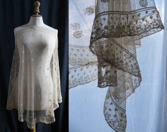 Antique off-white tulle/lace mantilla/Scarf,  Silk French lace, wedding veil