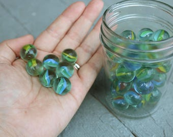 Vintage Jar Full of Glass Cats Eye Marbles // 48 Marbles // Playing Marbles // 20807