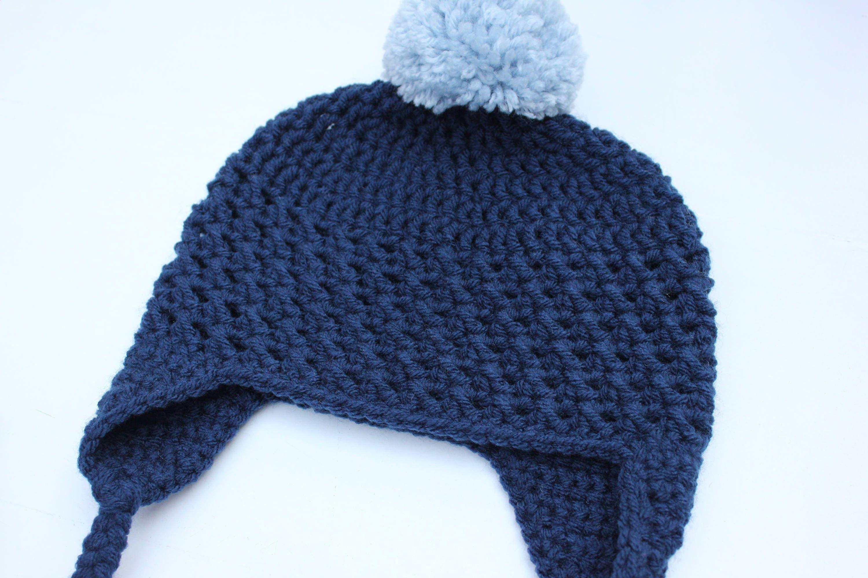 Crochet Baby Hat Pom Pom Baby Boy Hat Boy Pom Hat Crochet Earflap