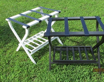 Hand made (USA)  folding luggage stand/rack.with shoe rack Beautifully made with pine & sturdy webbing.