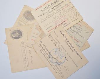 antique postal card / bill / receipt 1904-1911, lot of 10 pieces