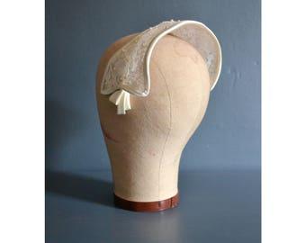 50s lace wedding hat / bridal headpiece