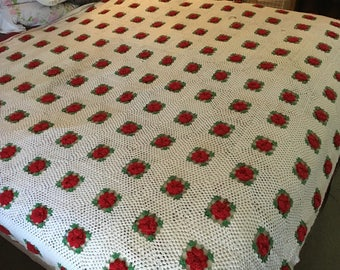 King size crocheted rose granny square bedding