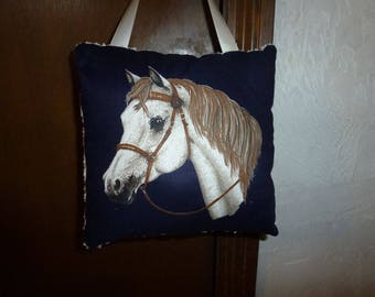 Hanging Horse Pillow with Cream Vintage Chenille Backing