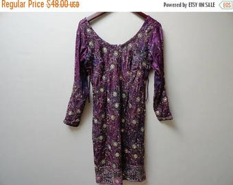 SALE Indian Beaded Dress Party Wedding Traditional Ethnic Wear Purple Small