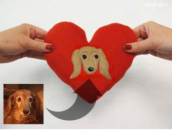 Dachshund Portrait Small Heart Pillow. Personalized With Your Weiner Patch