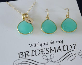 6 Green Initial Bridesmaid Necklace and Earring set, Bridesmaid Gift, Sea Foam Gemstone, 14k Gold Filled, Initial Jewelry, Personalized