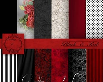 50% off Red Digital Papers, Red and Black Digital Paper, Black Lace, Red and Black Digital, Red and Black Paper, Red Roses,   No 1115