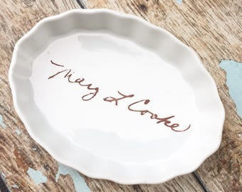 Custom recipe giving plate, pottery gifts, family heirloom gift, custom recipe kitchen pottery, custom pottery