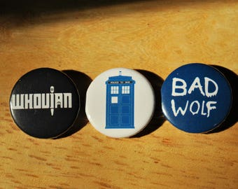 Dr Who Pin back Buttons