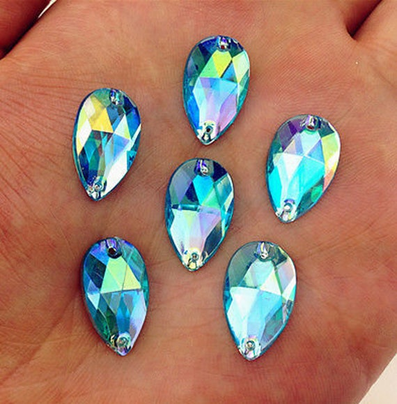 50pcs Aqua Blue AB 18mm*11mm Flat Back Tear Drop Sew On Acrylic Rhinestones Embellishment Gems C06