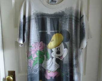 Vintage 80s FRENCH MICKEY Mouse Graphic T Shirt sz L/XL