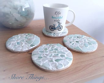 Awesome Sea Glass Coasters, Nautical Decor, Cup Mats, Placemats, Set Of 4,