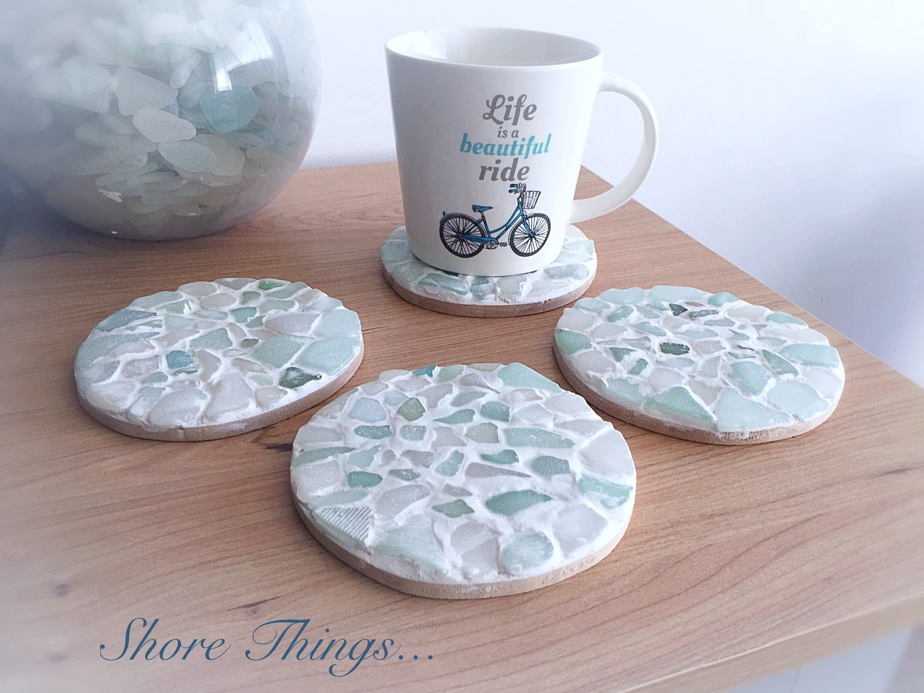 sea glass coasters nautical decor cup mats placemats set. Black Bedroom Furniture Sets. Home Design Ideas