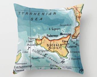 SICILY Pillow Cover 18x18, Sicily Gift, Sicily Pillow, Sicily Italy Throw Pillow, Atlas Pillow, Vintage Map Pillow