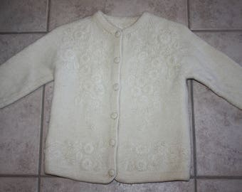 Vintage Girl's White Wool Floral Embroidered Hand Knit Sweater/Covered Buttons/Girl's Cardigan