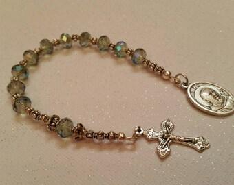Iridescent Beaded St Pio Single Decade Rosary