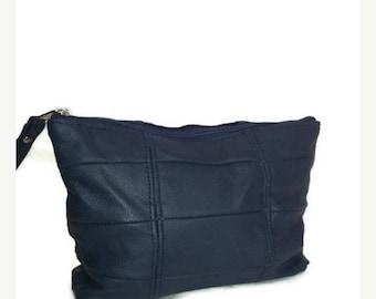 ON SALE Small Leather Cosmetic Bag, Blue Purse, Trendy Purses, Boho Chic Handbag, Cosmos