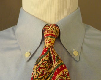 Vintage POLO by Ralph Lauren 100% Silk Multicolored Light Paisley Patterned Trad / Ivy League Neck Tie.  Made by Hand in USA.