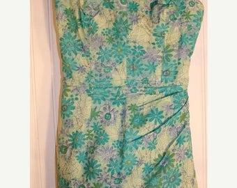 On Sale 50% OFF Vintage 50's White Stag Swimsuit Bathing Suit Green Floral Cotton Print Metal Zipper SZ M
