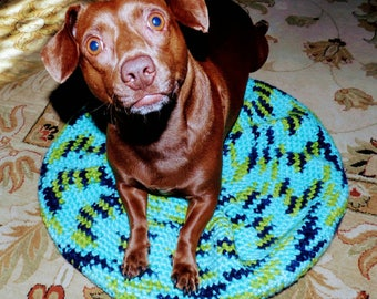 Small Pet Crocheted Pouf Bed Handcrafted Dog Cat Bed